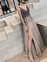 cheap -A-Line Elegant Sparkle Wedding Guest Formal Evening Dress V Neck Sleeveless Sweep / Brush Train Tulle with Sequin Split 2020