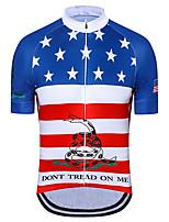 Недорогие -21Grams Муж. С короткими рукавами Велокофты Красный + синий Американский / США Флаги Велоспорт Джерси Верхняя часть Горные велосипеды Шоссейные велосипеды Устойчивость к УФ Дышащий Быстровысыхающий