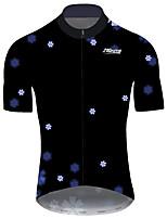 Недорогие -21Grams Муж. С короткими рукавами Велокофты Черный / Белый Цветочные ботанический Велоспорт Джерси Верхняя часть Горные велосипеды Шоссейные велосипеды Устойчивость к УФ Дышащий Быстровысыхающий