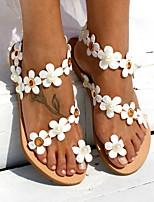 cheap -Women's Sandals Flat Sandal Summer Flat Heel Open Toe Daily PU White