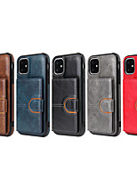 cheap -Case For Apple iPhone 7 / 8/7P/8P/X/Xs/Xr/Xs Max/11/11pro/11pro Max Card Holder / Shockproof Back Cover Solid Colored PU Leather