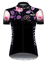 Недорогие -21Grams Жен. С короткими рукавами Велокофты Черный / красный Черепа Цветочные ботанический Роуз Велоспорт Джерси Верхняя часть Горные велосипеды Шоссейные велосипеды / Эластичная / Быстровысыхающий