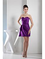 cheap -Sheath / Column Elegant Minimalist Homecoming Cocktail Party Dress Sweetheart Neckline Sleeveless Short / Mini Satin with Sleek Ruched 2020