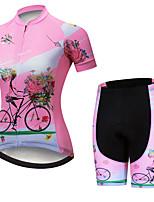 Недорогие -21Grams Жен. С короткими рукавами Велокофты и велошорты Розовый / черный Цветочные ботанический Велоспорт Наборы одежды Дышащий 3D / Слабоэластичная / Быстровысыхающий / Горные велосипеды / 3D-панель
