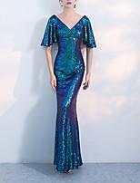Недорогие -блестка русалка труба блеск синий короткий рукав флаттер v шеи длиной до пола блестками выпускного вечера вечернее платье