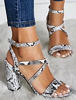 cheap -Women's Sandals Heel Sandals Summer Chunky Heel Open Toe Daily PU White / Beige