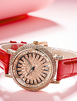 cheap -Women's Quartz Watches Luxury Fashion Genuine Leather Japanese Quartz Red White Brown Water Resistant / Waterproof 30 m Analog One Year Battery Life