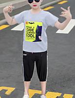Недорогие -Дети Мальчики Классический На каждый день Черный и серый Мультипликация С принтом С короткими рукавами Обычный Обычная Набор одежды Серый