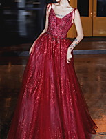 cheap -Ball Gown Glittering Red Engagement Formal Evening Dress Spaghetti Strap Sleeveless Floor Length Polyester with Bow(s) Sequin 2020