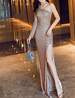 cheap -Sheath / Column Sparkle Gold Party Wear Prom Dress One Shoulder Long Sleeve Floor Length Polyester with Sequin Split 2020