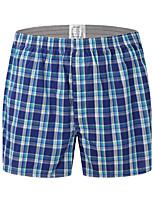 cheap -Men's Print / Basic Boxers Underwear - Plus Size Mid Waist Blue M L XL