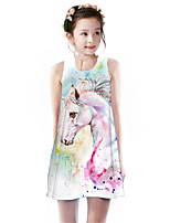 Недорогие -Дети Девочки Классический Симпатичные Стиль Unicorn Радужный Животное Мультипликация С принтом Без рукавов До колена Платье Цвет радуги