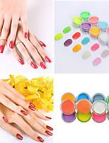 Недорогие -Красочный ультрадисперсный флуоресцентный порошок diy nail art свечение в темноте порошок песка пигментная пыль светящийся блеск ногтей украшения