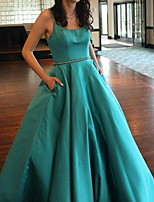 cheap -Ball Gown Elegant Green Prom Formal Evening Dress Spaghetti Strap Sleeveless Floor Length Polyester with Sash / Ribbon Pleats 2020