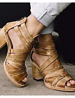 cheap -Women's Sandals Summer Chunky Heel Round Toe Roman Shoes Daily PU Khaki / Brown / Black