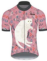 Недорогие -21Grams Муж. С короткими рукавами Велокофты Розовый Кот Животное Цветочные ботанический Велоспорт Джерси Верхняя часть Горные велосипеды Дышащий Быстровысыхающий Ультрафиолетовая устойчивость