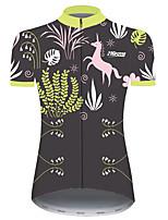 Недорогие -21Grams Жен. С короткими рукавами Велокофты Травянисто-зелёный единорогом Животное Цветочные ботанический Велоспорт Джерси Верхняя часть Горные велосипеды Шоссейные велосипеды / Эластичная / Дышащий