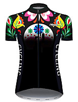 cheap -21Grams Women's Short Sleeve Cycling Jersey Black / Green Butterfly Floral Botanical Bike Jersey Top Mountain Bike MTB Road Bike Cycling UV Resistant Breathable Quick Dry Sports Clothing Apparel
