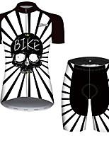 Недорогие -21Grams Жен. С короткими рукавами Велокофты и велошорты Черный / Белый Пэчворк Черепа Цветочные ботанический Велоспорт Наборы одежды / Слабоэластичная / Быстровысыхающий / Дышащий / Горные велосипеды