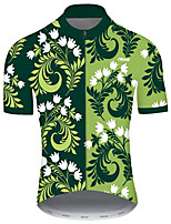 cheap -21Grams Men's Short Sleeve Cycling Jersey Green Floral Botanical Bike Jersey Top Mountain Bike MTB Road Bike Cycling UV Resistant Breathable Quick Dry Sports Clothing Apparel / Stretchy