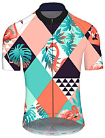 cheap -21Grams Men's Short Sleeve Cycling Jersey Blue+Yellow Plaid / Checkered Flamingo Floral Botanical Bike Jersey Top Mountain Bike MTB Road Bike Cycling UV Resistant Breathable Quick Dry Sports Clothing