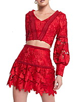 Недорогие -Из двух частей V-образный вырез Короткое / мини Спандекс Богемный / Красный Праздники / Коктейльная вечеринка Платье с Слои юбки / Аппликации 2020