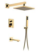 Недорогие -Смеситель для душа - золотой скрытый смеситель для ванны 8-дюймовый квадратный душ с дождевой насадкой для горячей и холодной воды Смеситель для душа