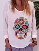 cheap -Women's Skull Print T-shirt Daily White