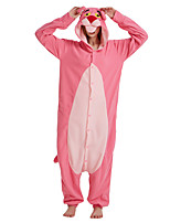 cheap -Adults' Kigurumi Pajamas Leopard Onesie Pajamas Flannelette Pink Cosplay For Men and Women Animal Sleepwear Cartoon Festival / Holiday Costumes