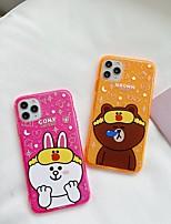 Недорогие -для яблока iphone 11 11pro 11promax 8p x xs xsmax xr 6p 6 7 8 простой мультфильм медведь кролик рисунок флуоресцентный высокий полупрозрачный тпу материал чехол для телефона
