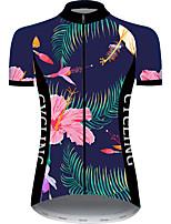 Недорогие -21Grams Жен. С короткими рукавами Велокофты Розовый + зеленый Животное Цветочные ботанический Велоспорт Джерси Верхняя часть Горные велосипеды Шоссейные велосипеды / Эластичная / Быстровысыхающий