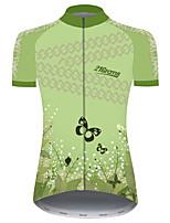 Недорогие -21Grams Жен. С короткими рукавами Велокофты Зеленый Бабочка Цветочные ботанический Велоспорт Джерси Верхняя часть Горные велосипеды Шоссейные велосипеды Устойчивость к УФ Дышащий Быстровысыхающий