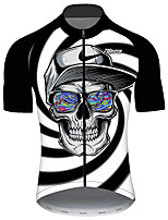 cheap -21Grams Men's Short Sleeve Cycling Jersey Black / White Skull Bike Jersey Top Mountain Bike MTB Road Bike Cycling UV Resistant Breathable Quick Dry Sports Clothing Apparel / Stretchy