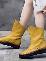 cheap -Women's Boots Flat Heel Round Toe Leather Mid-Calf Boots Spring &  Fall Yellow / Black
