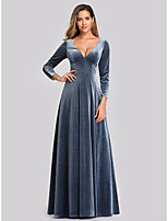 cheap -A-Line Vintage Blue Wedding Guest Formal Evening Dress V Neck Long Sleeve Floor Length Velvet with Sleek 2020