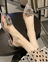 cheap -Women's Sandals Chunky Heel Pointed Toe PU Summer Silver