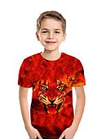 Недорогие -Дети Мальчики Активный Уличный стиль Геометрический принт Контрастных цветов 3D С короткими рукавами Футболка Красный