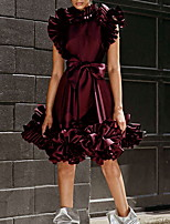 cheap -A-Line Luxurious Black Homecoming Cocktail Party Dress Jewel Neck Sleeveless Knee Length Charmeuse with Bow(s) Draping 2020