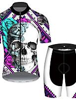 Недорогие -21Grams Муж. С короткими рукавами Велокофты и велошорты Черный / Белый Клетки Черепа Роуз Велоспорт Наборы одежды Устойчивость к УФ Дышащий 3D-панель Быстровысыхающий Со светоотражающими полосками