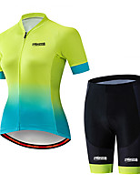 Недорогие -21Grams Жен. С короткими рукавами Велокофты и велошорты Черный / зеленый Градиент Велоспорт Наборы одежды Дышащий 3D-панель Быстровысыхающий Ультрафиолетовая устойчивость Впитывает пот и влагу