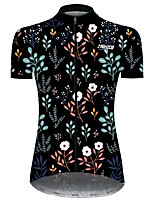 cheap -21Grams Women's Short Sleeve Cycling Jersey Black / Red Animal Floral Botanical Bike Jersey Top Mountain Bike MTB Road Bike Cycling UV Resistant Breathable Quick Dry Sports Clothing Apparel