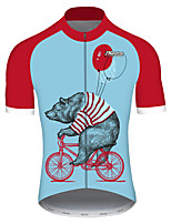 Недорогие -21Grams Муж. С короткими рукавами Велокофты Красный + синий Животное Воздушные шары Медведи Велоспорт Джерси Верхняя часть Горные велосипеды Шоссейные велосипеды / Эластичная / Быстровысыхающий