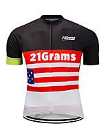Недорогие -21Grams Муж. С короткими рукавами Велокофты Красный / Белый Американский / США Флаги Велоспорт Джерси Верхняя часть Горные велосипеды Шоссейные велосипеды Устойчивость к УФ Дышащий Быстровысыхающий