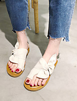 cheap -Women's Slippers & Flip-Flops 2020 Spring &  Fall / Spring & Summer Flat Heel Open Toe Classic Minimalism Daily Beach Bowknot / Satin Flower Satin Khaki / Black / Beige
