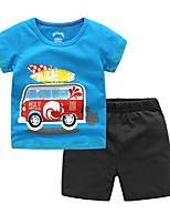 Недорогие -Дети Дети (1-4 лет) Мальчики Активный Классический Школа На каждый день Мультипликация С короткими рукавами Обычный Набор одежды Синий