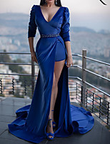 cheap -Mermaid / Trumpet Sexy Blue Engagement Formal Evening Dress V Neck Half Sleeve Court Train Polyester with Sash / Ribbon 2020