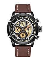 cheap -NAVIFORCE Men's Sport Watch Japanese Quartz Formal Style Modern Style Genuine Leather Black 30 m Water Resistant / Waterproof Calendar / date / day Hollow Engraving Analog Classic Fashion - Brown