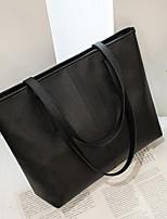 cheap -Women's Zipper PU Top Handle Bag Solid Color Black / Gray