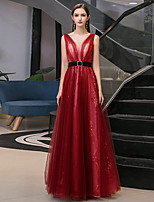 cheap -A-Line Sparkle Red Wedding Guest Prom Dress V Neck Sleeveless Floor Length Tulle with Sash / Ribbon Sequin 2020