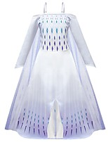 Недорогие -Дети Девочки Активный Симпатичные Стиль Геометрический принт Halloween Сетка Кружевная отделка Без рукавов Средней длины Платье Белый